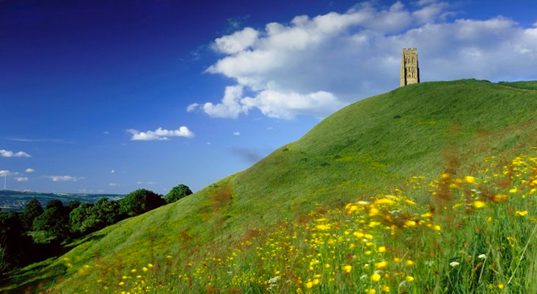 The Glastonbury Tor in Somerset, United Kingdom